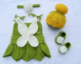 Сrochet Disney's Tinkerbell inspired Princess Dress/Tinkerbell Baby Outfit/Crochet Tinkerbell Inspired Costume/Tinker Bell/Photography Prop