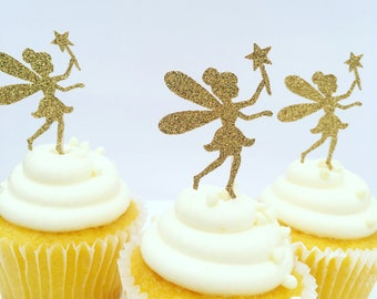 Set of 20 gold fairy cupcake toppers. Ships within 2-5 days