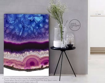 AGATE MINERAL Gemstone Geode - Wall Art Print Poster Canvas - On Trend
