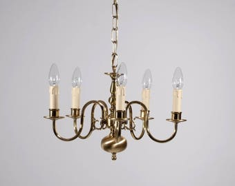 Flemish Chandelier Brass polished/matt, 5xE14