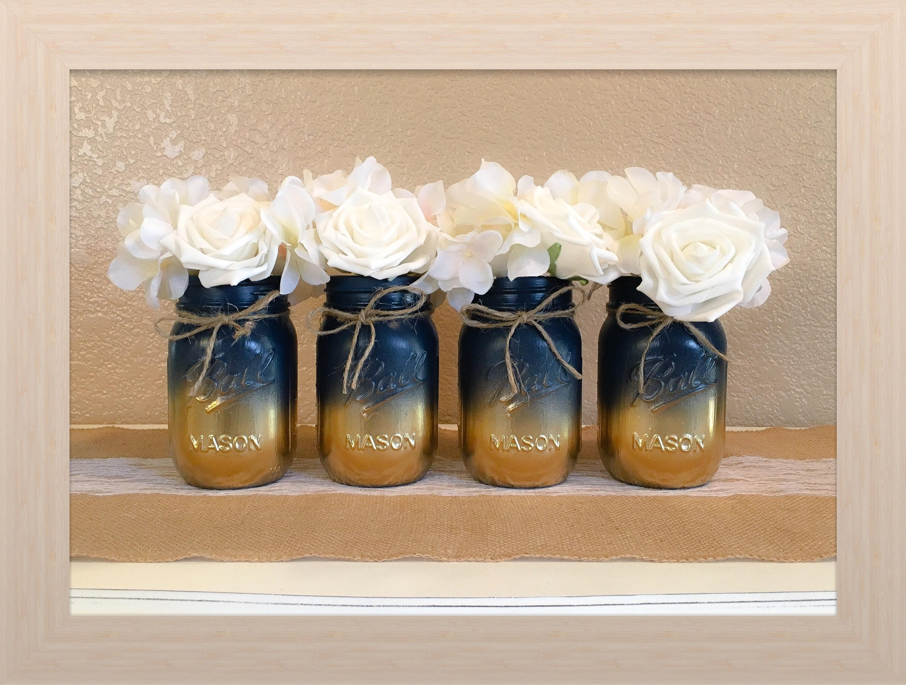 Nautical Baby Shower Centerpiece Navy Blue and Gold Mason