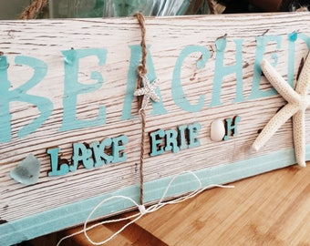 Beach Lovers Art, Nautical Sign, Lake Erie Sign
