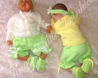 "Little Twinkles~BUTTERCUPS & DAISIES Knitting Pattern~0-3mths 19-22"" Reborn"