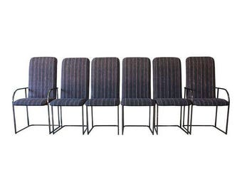 Modern Chrome High Back Dining Chairs by the Design Institute of America - Set of 6