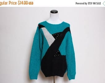 25% OFF VTG 80s Mosaic Blue White Green Studded Black Abstract Sweater M/L