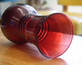 Ruby Red Anchor Hocking Glass Bulb Vase