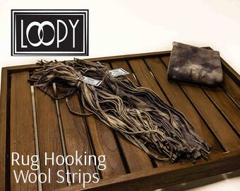 Rug Hooking Wool Strips Grey (Stone), hand dyed, 100% wool (50 Strips)