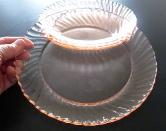 Arcoroc pink swirl dessert plates. Rosaline pink swirl tea plates or cheese plates.
