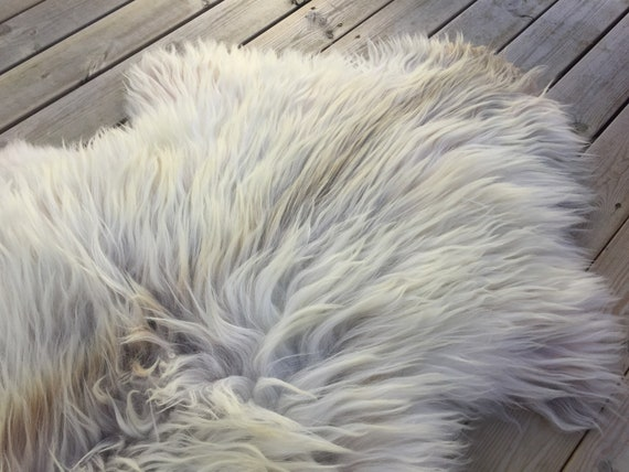 Real Sheepskin rug supersoft rugged throw from old Norwegian spael breed long haired sheep skin genuine grey white brown 18061