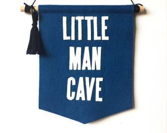 little man cave felt banner, baby boy room wall hanging, shower gift, nursery room decor, baby shower gift, nursery wall pennant art