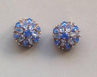 Vintage Blue Rhinestone Clip Earrings/Signed BARCLAY/ Teardrop Crystal Rhinestones/ Wedding Accessory/Midcentury Style -1950's