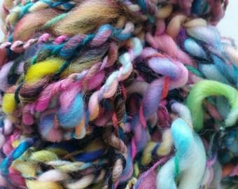 RAINBOW skein of yarn spun to spinning wheel.