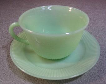Jadeite Alice Fire-King Tea Cup & Saucer