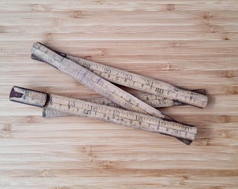 Vintage Wooden Ruler Folding Ruler Collectable  Boho Rustic Ruler  Collectable Stationary  Drawing implements Old Rulers Desk Accessories.