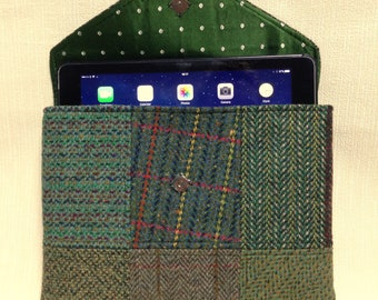Welsh tweed patchwork iPad case/tablet case in green with handle