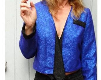 T shirt paillettes des années 1980 Disco bleu inspiré veste par Laura Vanvolsem //size us6