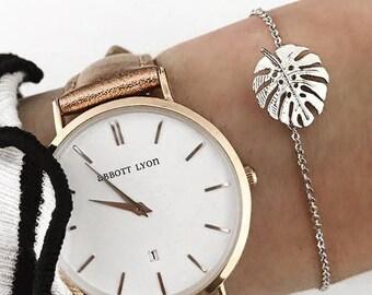 Filigranes Armband Palmblatt Anhänger gliederkette armkettchen gold silber Palm leaf bracelet