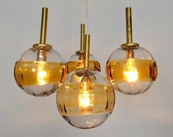 cascade lamp | pendant | handblown glass | 60s | lamp | amber cascade | Fischer Leuchten