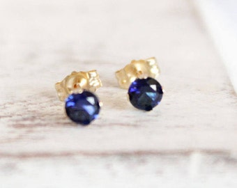 14k Gold and Sapphire Earrings - September Birthstone Studs - Gemstone Earrings - Simple Gold Earrings - Dark Blue Bridesmaids Gift