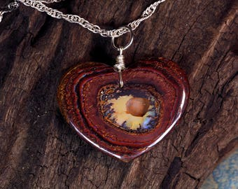 Valentine's Gift - Yowah Boulder Opal Heart Pendant on Sterling Silver Chain Necklace
