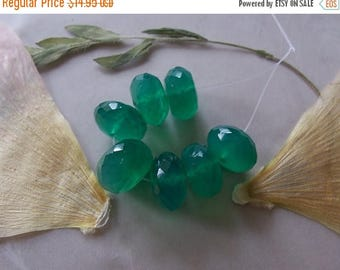 ON SALE Green Chalcedony Gemstone Large Faceted Chunky Rondelle Beads ~ 7 Pieces ~ 11mm-12mm