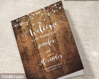 Wedding Program, Printable program booklet template, Printable Wedding Program, Instant Download Self Editable PDF P204-B