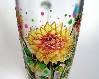 Hand Painted Coffee Mugs, Dahlia flower Large Coffee Mug, Mug for mom,  Glass mugs, Painted glassware, Gift for woman,  Hand painted glass