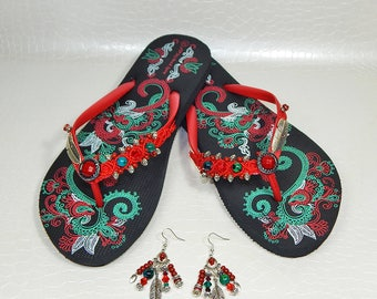 Flip flops customized large native American feather
