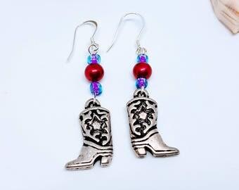 Cowboy Earrings, Sterling Silver Dangle Earrings, Western Earrings, Boot Earrings, Beaded Earrings, Cowygirl Boots Earrings, Cowboy Boots