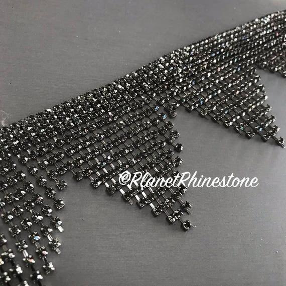 Black Large Fringe Rhinestone Trim #0529
