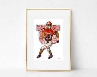 A Utah Man am I, University of Utah Art Print, Utah Utes Print, Utah Sports, University of Utah Football Art, Devontae Booker Artwork