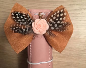 Tan leather boho TN bow