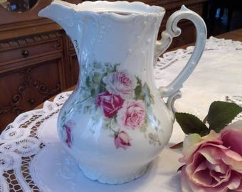 Antique Hand Painted Pitcher Pink Roses, Made in Germany, shabby chic, cottage chic, Victorian, raised design, white, romantic decor, gift