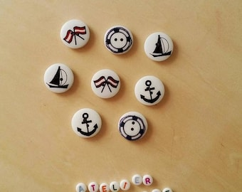"Set of 10 ""marine navigation collection"" wooden buttons - multicolored"