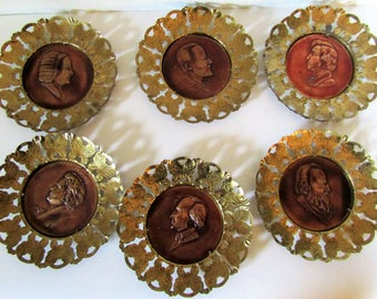 """Classical Composer Set of 6 Copper & Brass 6""""  Wall Decor Plates-Made in England"""
