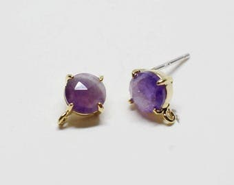 E0157/Anti-Tarnished Gold Plating Over Brass+Amethyst Gemstone/Bazeled Faceted Circle Amethyst Gemstone Earrings/8x10mm/2pcs