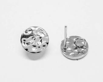 E0165/Anti-Tarnished Rhodium Plating Over Brass /Rough Circle Stud Earrings/10mm/2pcs