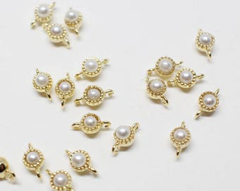 P0671-1/Anti-Tarnished Gold Plating Over Brass+pearl/Tiny Flamed Pearl Connector/3mm/4pcs
