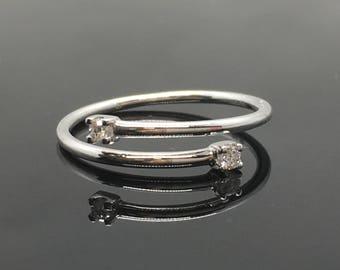 14K White Gold Two Stone Open Ring - Two Stone Diamond Engagement Ring - 14K Minimalist Diamond Ring - 14K Gold Dainty Diamond Promise Ring