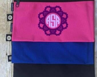 Monogrammed School Supply Bag, Tech Bag, All Purpose Bag, Personalized School Bag, Pencil Pouch, Makeup Bag