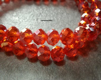 (PF813) Set of 20 effect Crystal orange red color 6 * 8 mm faceted glass beads