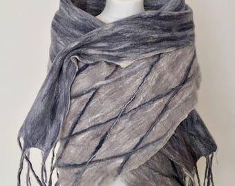 Wool Felted Scarf  Wool Felted Wrap  Merino Wool Shawl