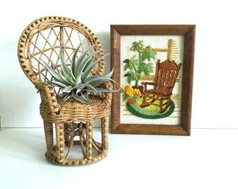 Rocking chair crewel /Vintage Crewel/ small crewel/ framed crewel / grandfather clock crewel / mannequin crewel / vintage embroidery
