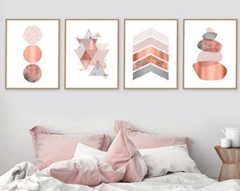 Set of 4 Geometric Downloadable Prints in Blush Pink Copper and Grey, Scandinavian, Minimalist, Wall Art, Home Decor, Posters, Trending Art