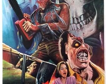 Back to School Sale: EVIL DEAD II Movie Poster Rare Bruce Campbell Sam Raimi Horror