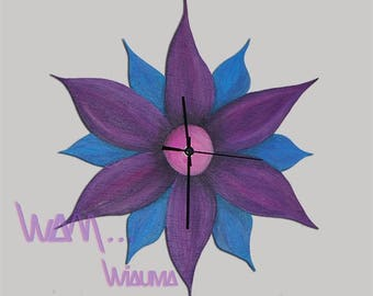 clock wall flower purple and blue