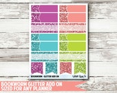 Bookworm Glitter Functional Planner Stickers