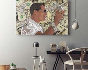 Leonardo DiCaprio - Money Roll Wolf of Wall Street Canvas Art - Money Roll Modern Pop Art Wall Art For Home, Office or Dorm