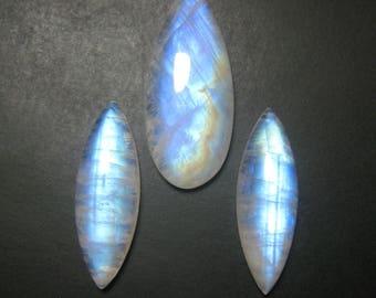 Rainbow Moonstone Cabochon, Natural Rainbow Moonstone gemstones, Loose Semi Precious Gemstone,size 10 x 30 to 14 x 33 ET 1004