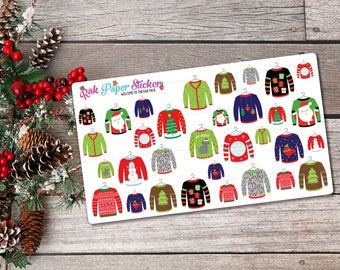 Ugly Christmas Sweaters! - Set of 30+ stickers for your Erin Condren, PPP, Filofax, or other calendar or planner!